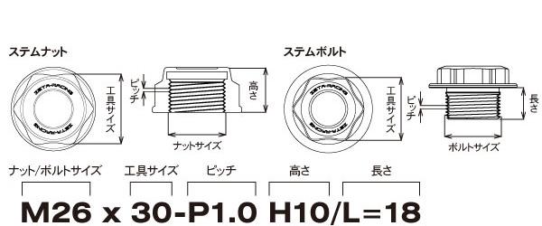 ステムナット/ステムボルト寸法表